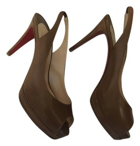 cheap knock off red bottom shoes - Christian Louboutin Very Prive 120 Brown Patent Peep-toe ...