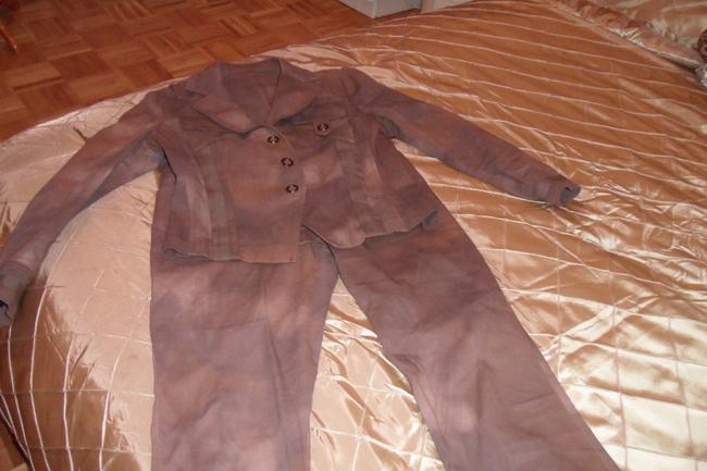 SONIA FORTUNA SONIA FORTUNA 2PC PANT SUITE IN BROWN DENIM, MADE IN ITALY