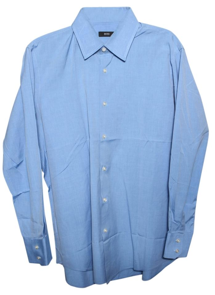 Hugo boss blue button up dress shirt mens button down for Top mens button down shirts