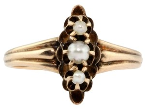 Antique 1880's Victorian 10k Rose Gold Freshwater Graduated Pearl Womens Ring!