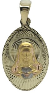 Other 14K Tri-Color Oval Religious Pendant