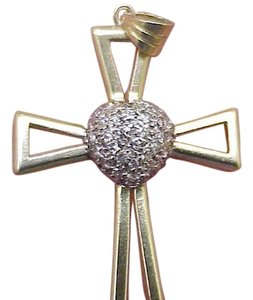 Other Estate Vintage 14k Yellow Gold .50cttw Diamonds Cross - Pendant ,1950s