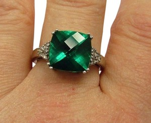 Other Estate Vintage Solid 10k White Gold Checkerboard Rainforest Green Topaz Diamonds Ring