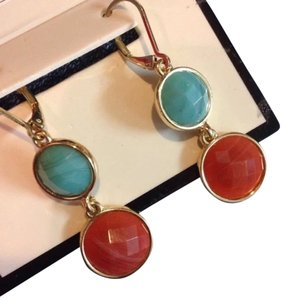 Dana Buchman faceted dangle turquoise and amber like earrings