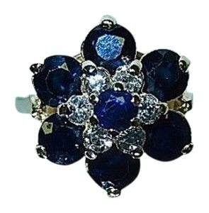 Vintage Unique 14K Yellow Gold Ring: Round Cut Genuine Diamonds & Natural Sapphires,1950s