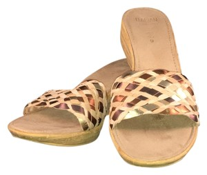 Gold Straw Woven Cork Beige Mules