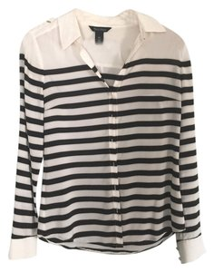 White House | Black Market Silk Striped Top black and white