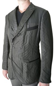 Giorgio Armani New Giorgio Armani Men Black White Pin Stripes Long Fashion Suit Jacket Size M $2895