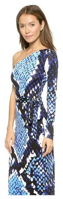 "Item - Blue Dvf ""Coco"" Snakeskin-print Silk One Sleeve Wrap Maxi Long Night Out Dress Size 6 (S)"