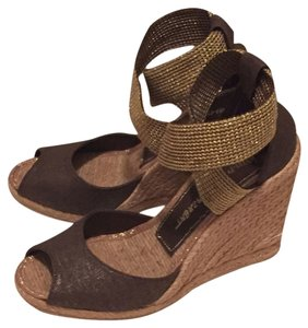 Jean-Michel Cazabat Brown and Gold Wedges