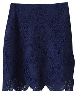 For Love & Lemons Mini Lace Blue Casual Night Out Mini Skirt deep blue