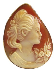 """AMEDEO AMEDEO 14K """"Lady with the Ponytail"""" Cameo Pin/Pendant"""