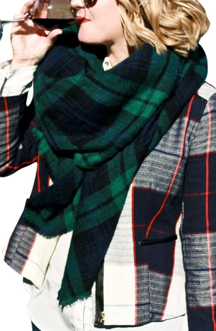 Item - Green and Navy Blue New Tartan Plaid Large Blanket Scarf/Wrap