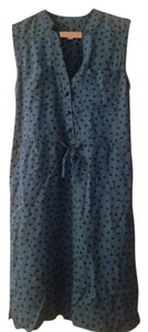 Ann Taylor LOFT short dress Blue Print Sleeveless Button Front Tie Waist on Tradesy