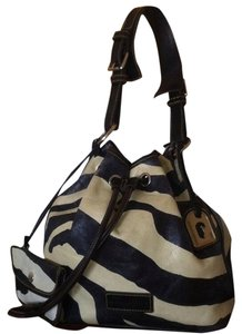 Dooney & Bourke Leather Zebra Drawstring Sack Coin Shoulder Bag