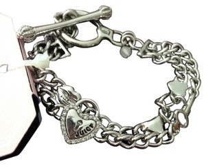 Juicy Couture double silver tone chain heart toggle bracelet