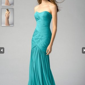 Watters Aqua Crinkled Chiffon Adoria 7540 Formal Bridesmaid/Mob Dress Size 14 (L)