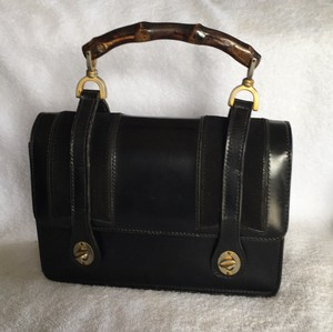 Gucci Bamboo Lunchbox 1960s Satchel in Black