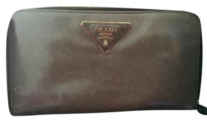 Prada Saffiano Grey Metal - Distressed Leather Wallet