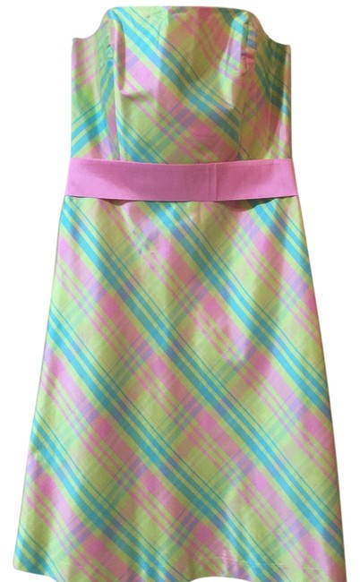 Item - Lime Like Green Pink Turquoise Plaid Mid-length Night Out Dress Size 12 (L)