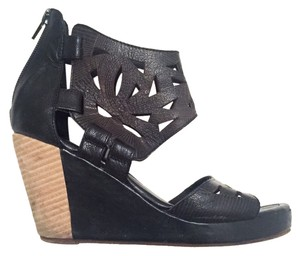 ALDO Lambskin Leather Cutout Black Wedges