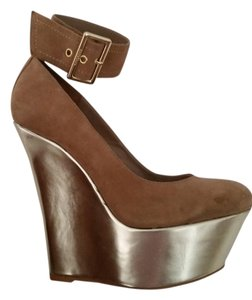Bebe Heels Gold & suede Wedges