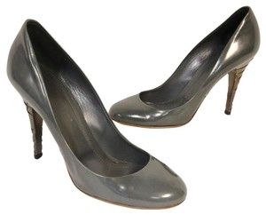 Burberry Novacheck Monogram London Brit Lambskin Gray Pumps