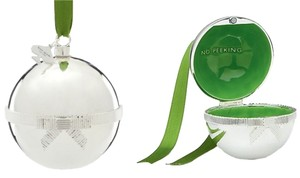 """Kate Spade Kate Spade Silver Lenox Ornament with bright green surprise interior. """"Do Not Peek"""" message."""