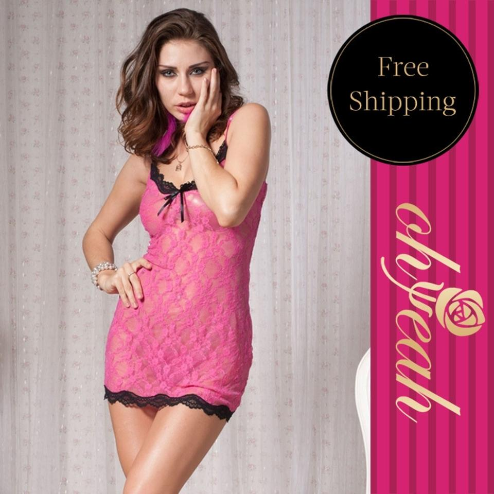 Hot Pink Lace And Mesh Babydoll With Black Trim Lingerie + G ...