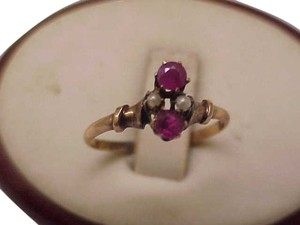 Other 12K Gold Antique Victorian Genuine Rubies & Pearl Ring, 1800s