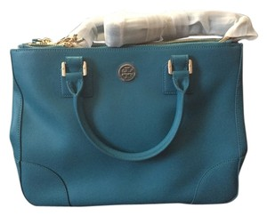 Tory Burch Saffiano Leather Tote in Electric Eel