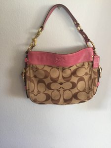 Coach Pink Brown Hobo Bag