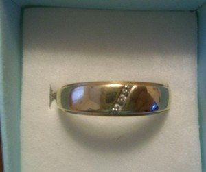 Men's 14k Gold Wedding Band W Diamonds