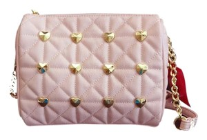 Betsey Johnson Diamond Quilt Heart Studded Cross Body Bag