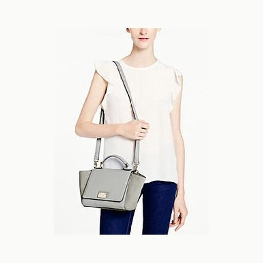 Kate Spade Leather Suede Removable Strap Trapeze Chic Satchel in Grey Light Blue
