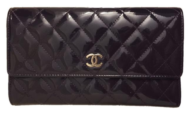 Item - Dark Purple Classic Flap Long Patent Leather Quilted Wallet