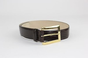 Ellen Tracy Ellen Tracy 24.5-28.5 Brass Brown Croco Embossed Leather Belt B182