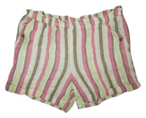 Anthropologie Casual Holiday Striped Print Cuffed Shorts Multi-color
