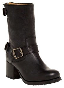 Frye True To Size Buckle Strap Zip Closure Leather Upper Black Boots
