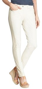 Eileen Fisher Slim Tuxedo Stretch Denim White Straight Pants Bone