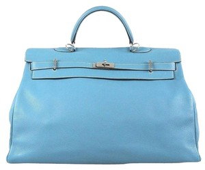 Hermès Kelly 50 Cm Togo Leather Blue Travel Bag