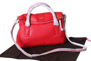 Kate Spade Leather Removalbe Strap Pebbled Leather Zip Flap Closure Crossbody Satchel in Dark Geranium (red)