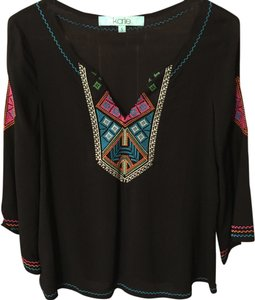 Karlie Date Night Black Shirt Embroidered Colorful Top