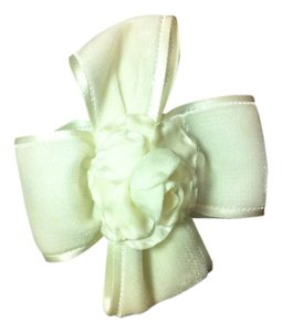 Chanel Rare!Chanel White Velvet Hair Bow with satin edging and Camellia Flower Center. VINTAGE \free shipping!