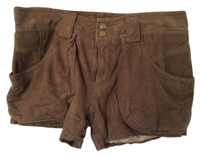 Free People Cargo Shorts Brown Suede