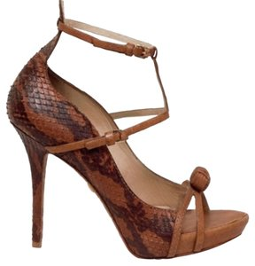 L.A.M.B. Snakeskin Lamb Python Brown Sandals
