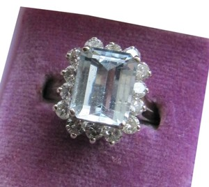 Antique/estate Aquamarine & diamond ring