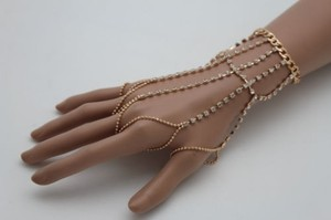 Other Women Gold Metal Hand Chains Wrist Bracelet Connect Slave Rings Long Fingers