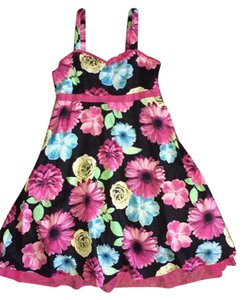 Justice short dress Black & Hot Pink Floral Print on Tradesy