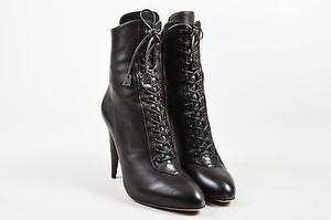 Prada Dark Leather Lace Brown Boots